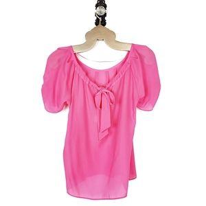 KAARI Blue | Pink Bow Back Puff Sleeve Top Small